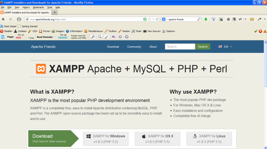 Screenshot of Apache Friends XAMPP site