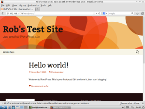 Screenshot of freshly installed WordPress test server showing the built-in Twenty Thirteen theme