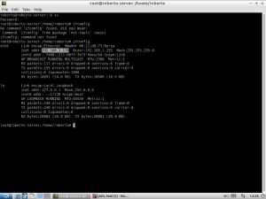 Screenshot of terminal showing IP address