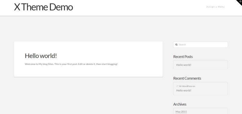 Screen shot of freshly installed X WordPress Theme